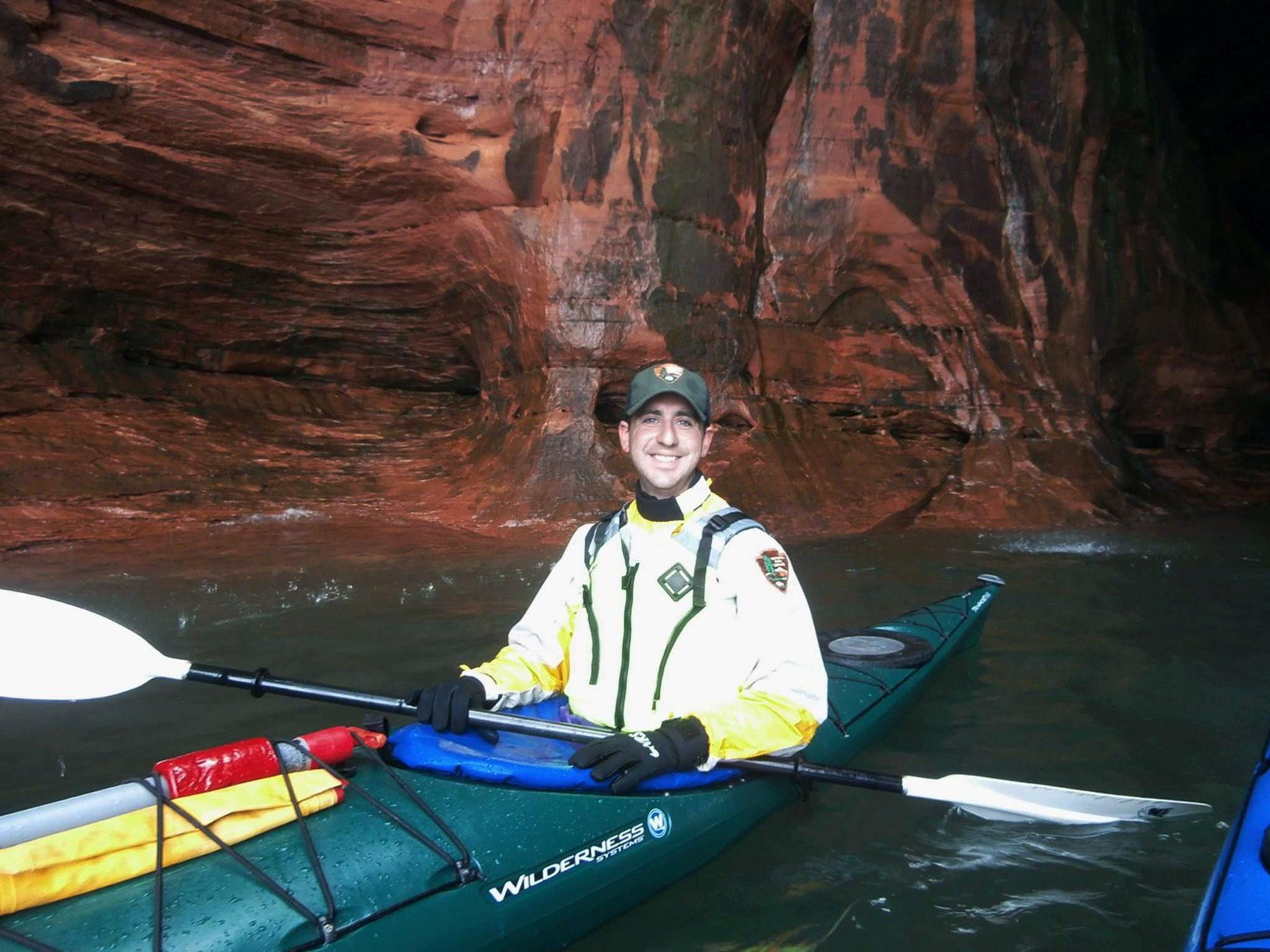 Josh Sweet paddles mainland sea caves