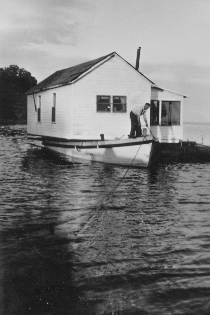 Moving the Nelson cabin from Stockton to Rocky Island in 1947
