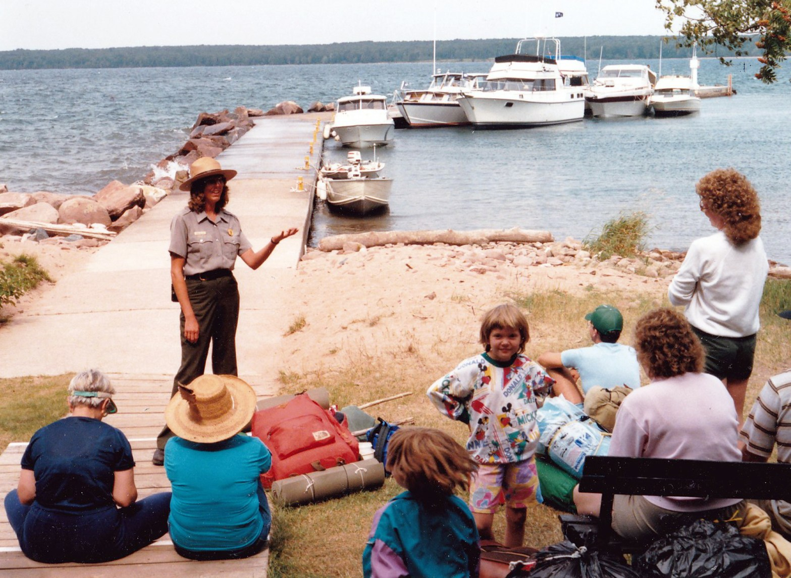 Terry talks with visitors at Presque Isle dock