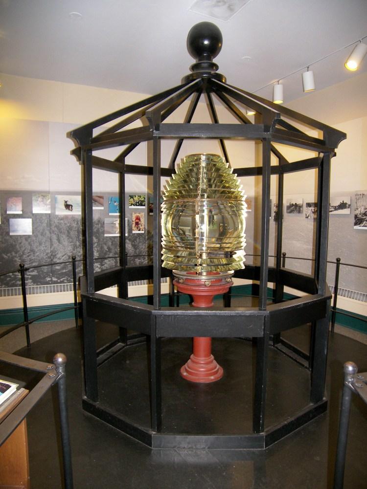 Michigan Island fresnel lens exhibit at park HQ