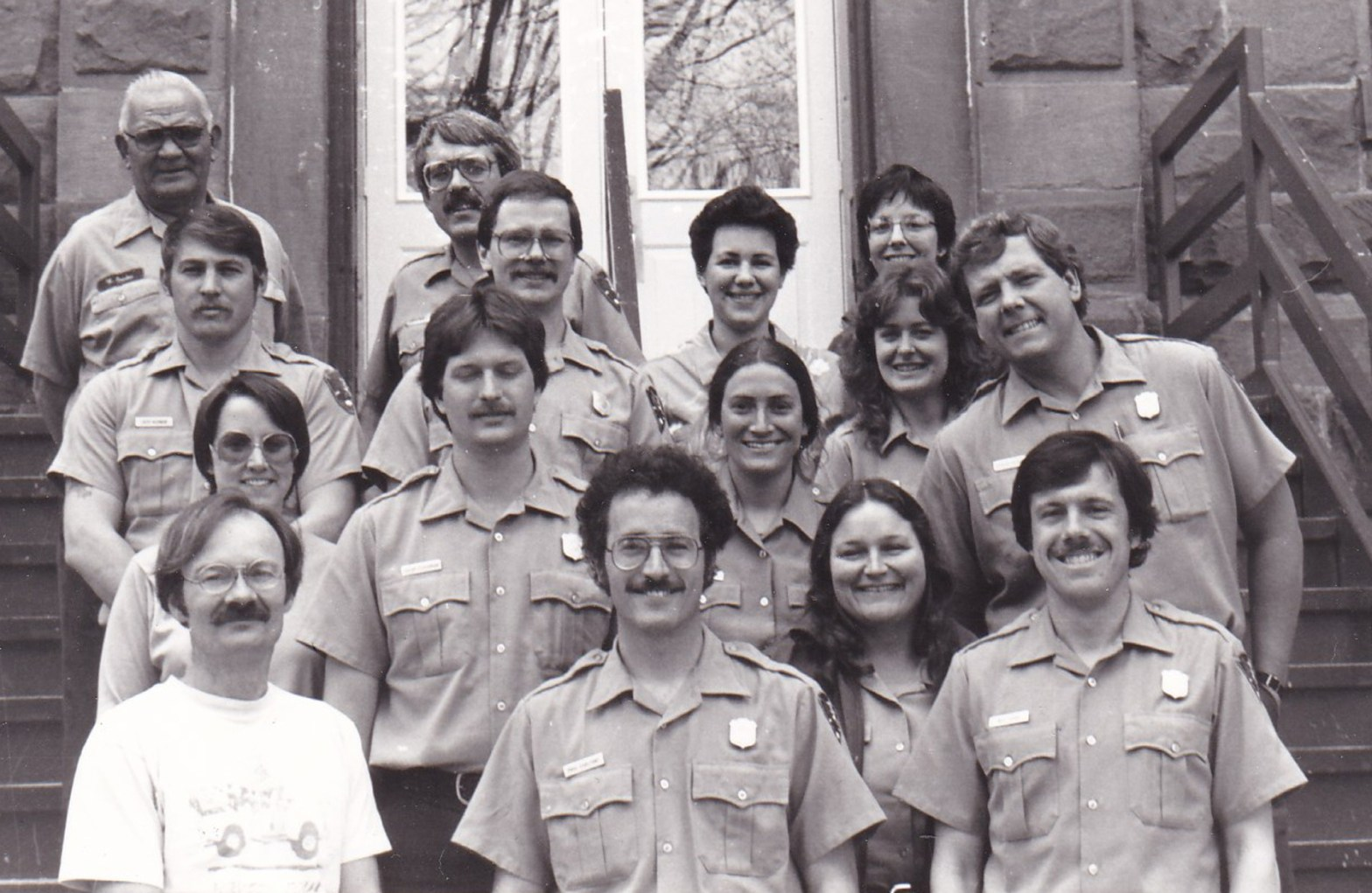 1986 seasonal staff - Diane is standing behind her staff (upper right corner of the group)