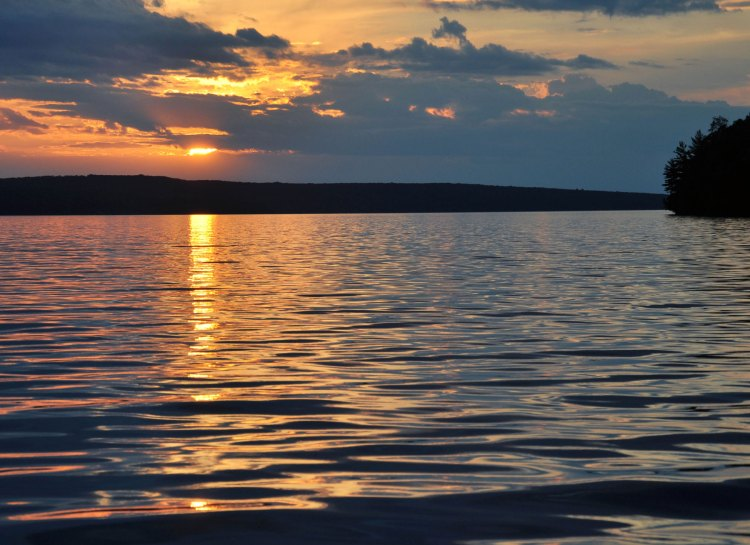 Sunset reflected on the lake near Hermit Island