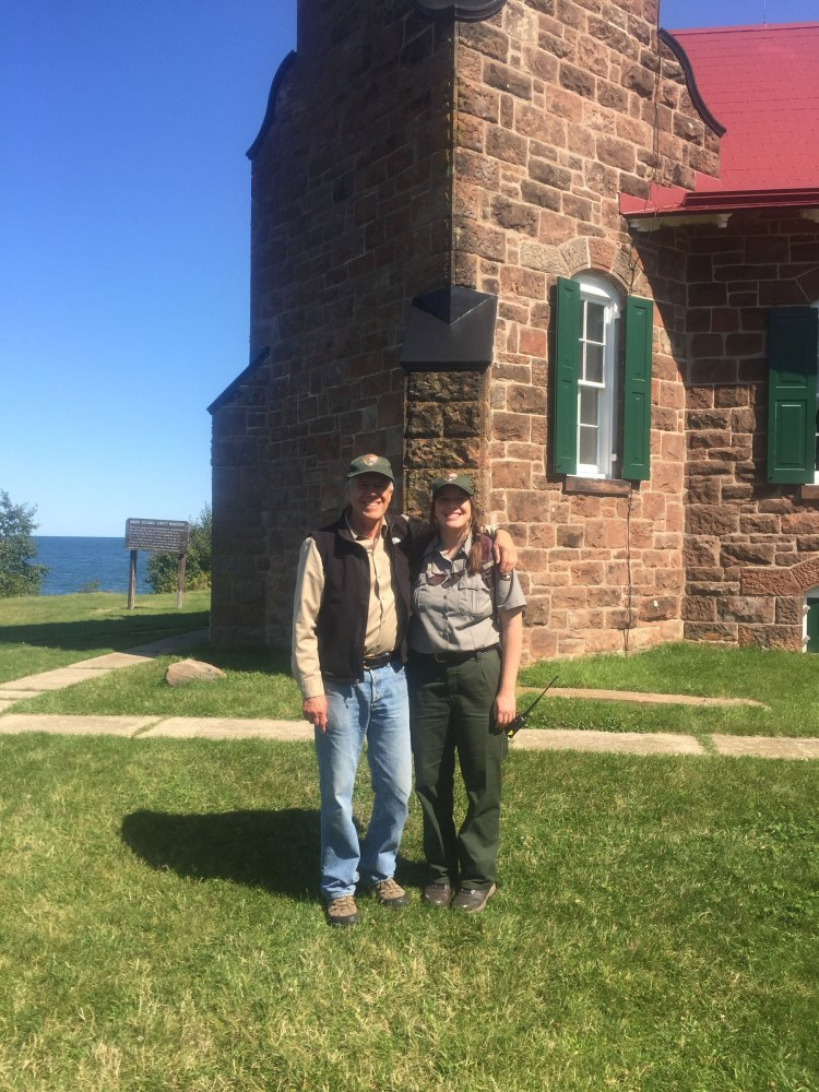 Neil and Sophie at Sand Island Lighthouse