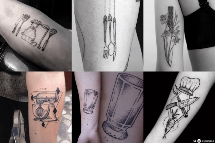 Tatuagens para quem é fissurado por gastronomia e itens de cozinha.