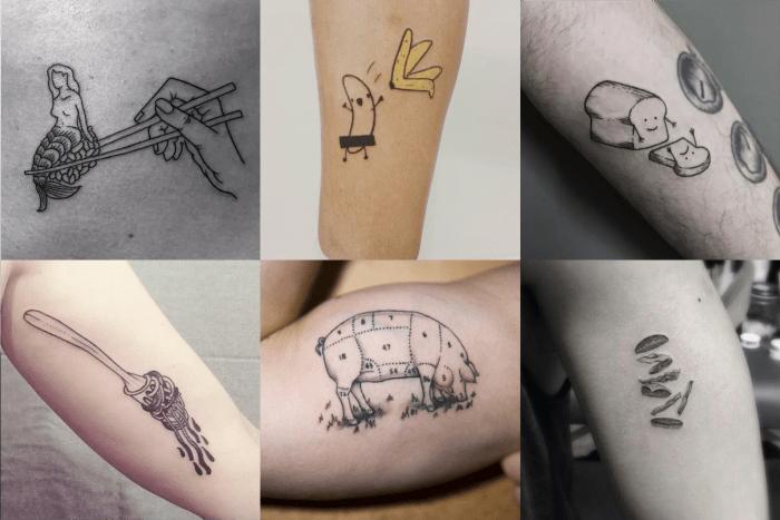 Tatuagens criativas para quem gosta de comida e gastronomia.