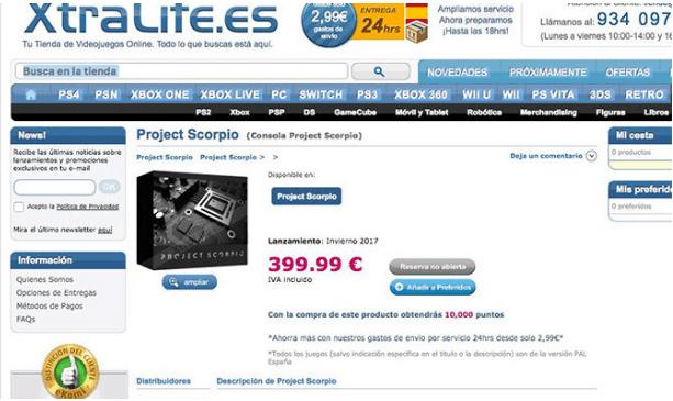 tienda-filtra-precio-de-project-scorpio-frikigamers.com