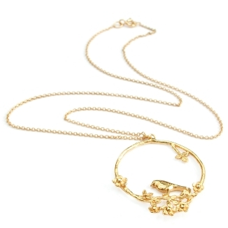 Alex Monroe Flowery Bird Loop Necklace - £132