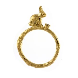 Alex Monroe Sitting Bunny Ring with Diamond