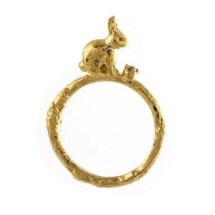 Alex Monroe Sitting Bunny Ring with Diamond - £180