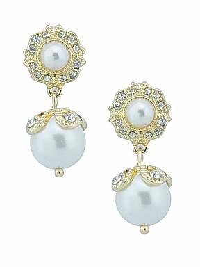 Ziba Bridal pearl drop earrings