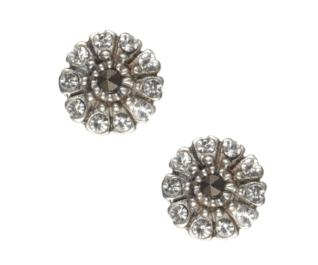 Sterling silver deco petal stud earrings - £8
