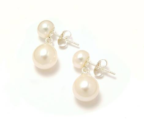 White pearl on pearl drop earrings - £52