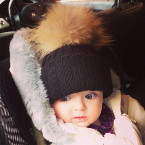 Fur bobble hats for babies