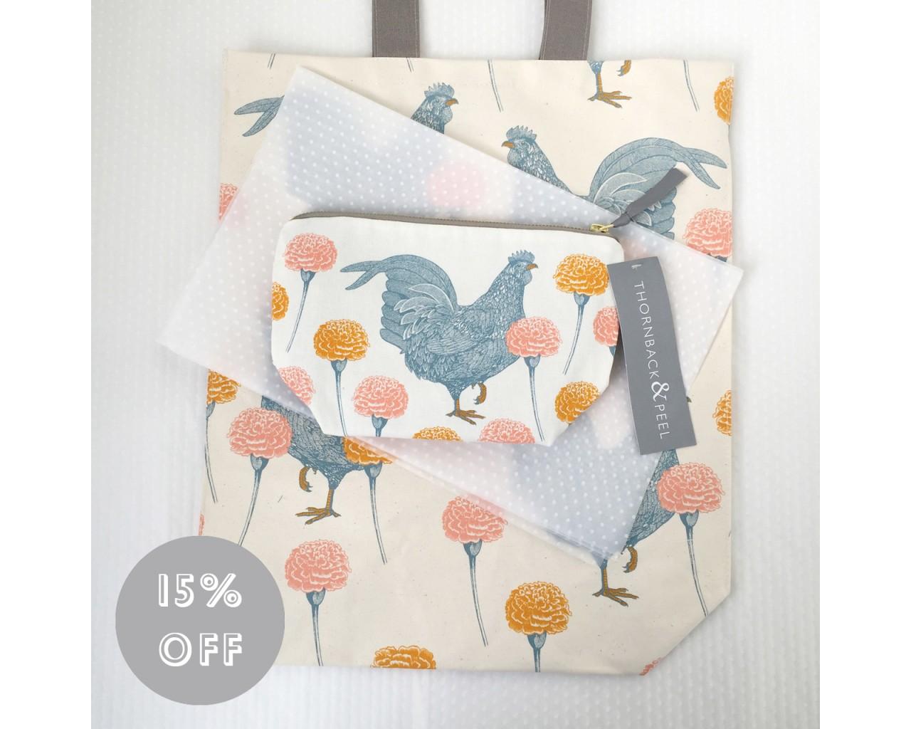 Thornback and Peel chicken-carnation-bag-gift-set