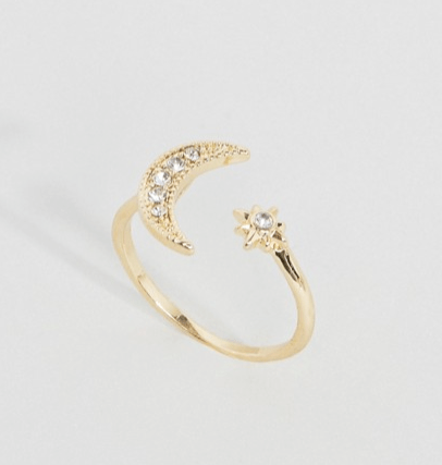 Asos moon and star open ring