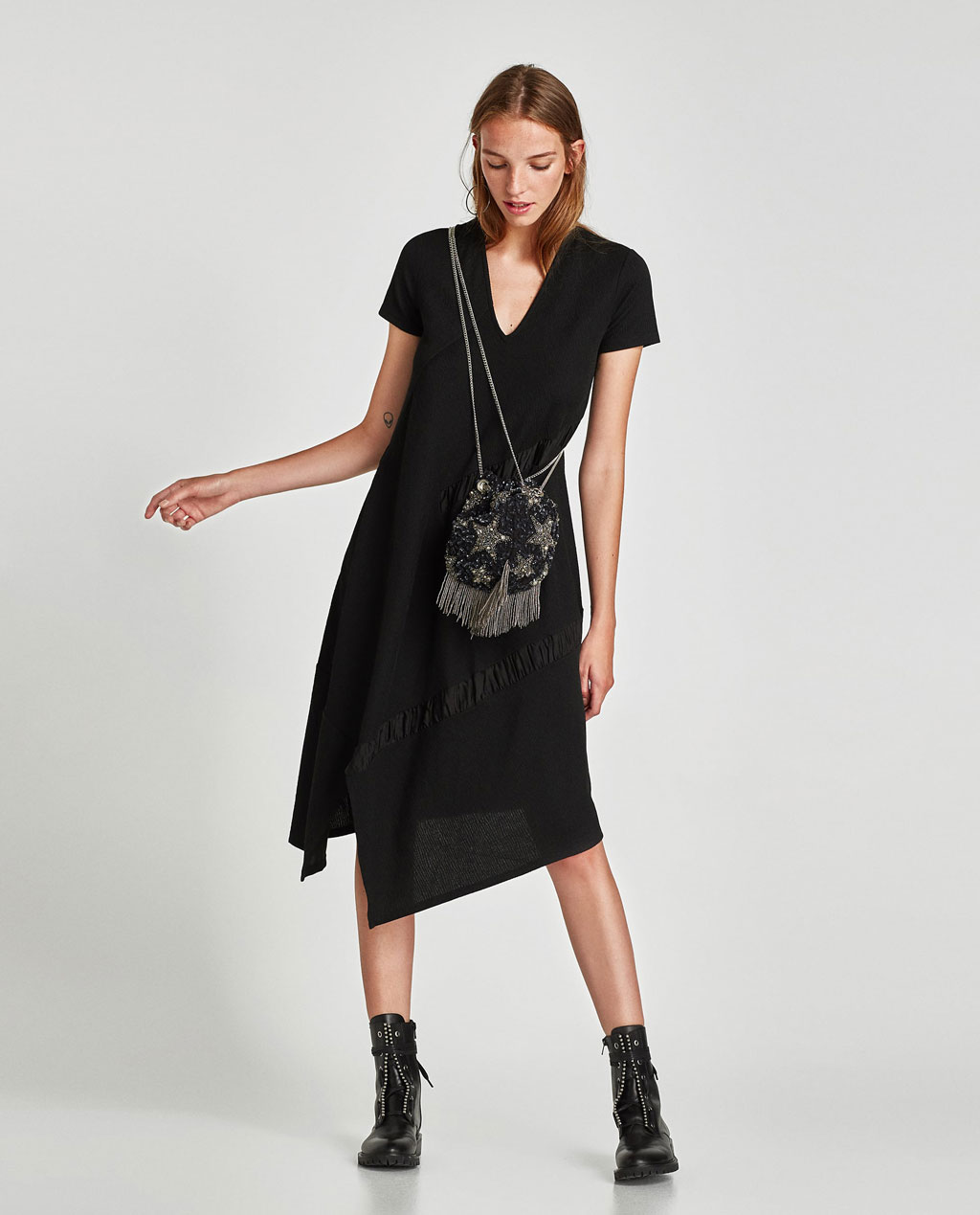 Zara cross body beaded bucket bag