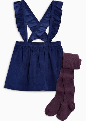 Next navy cord and plum tights set