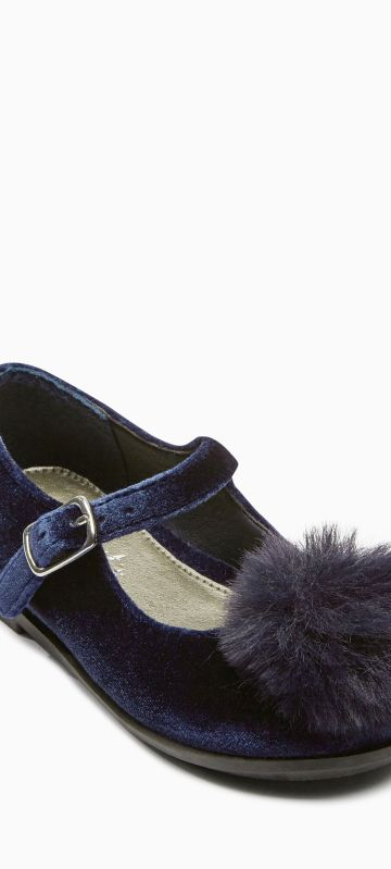 Next navy velvet pompom shoes