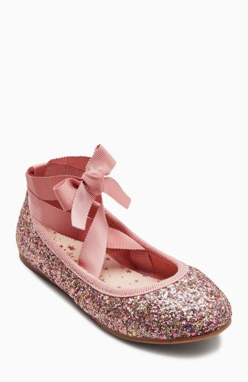 Next pink glitter ballerina pumps