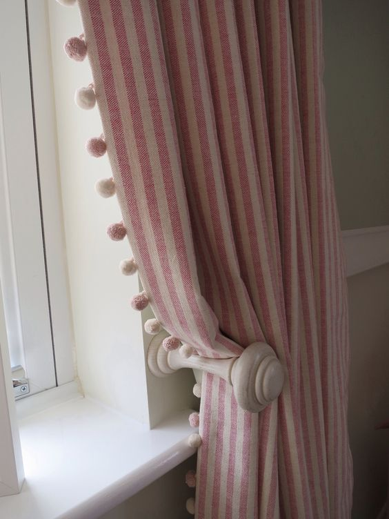 Stripe pom pom curtains