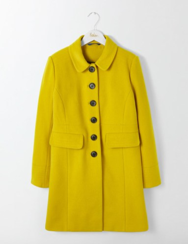 Boden single breasted coat in saffron yellow