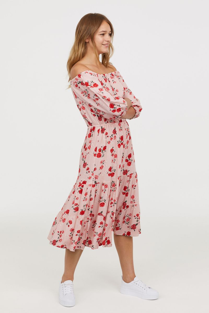 0c4e08dd647f Off the shoulder dress – £29.99. This one has to be my winner. Pretty print  and soft kick out at the knee.