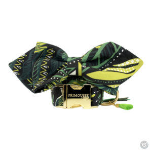 Ensemble collier pour chien réglable et son noeud papillon «Oasis»