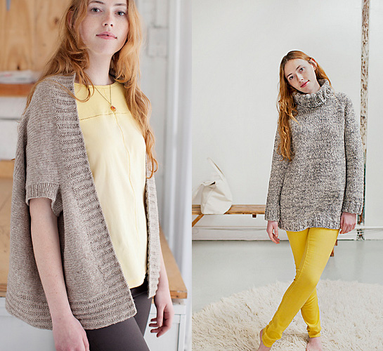 inversion cardigan and turtleneck from brooklyn tweed spring thaw collection