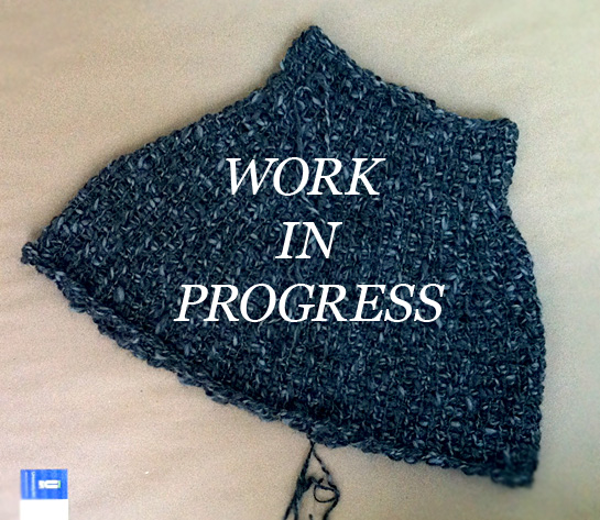 tunisian crochet capelet in progress