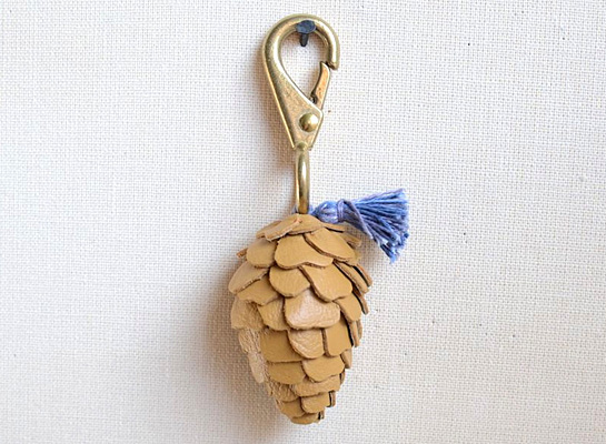 leather pine cone key fob by 3191 miles apart