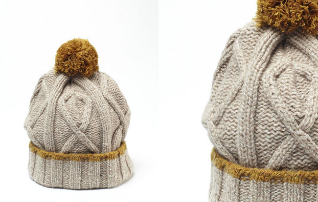 knit pompom cable hat