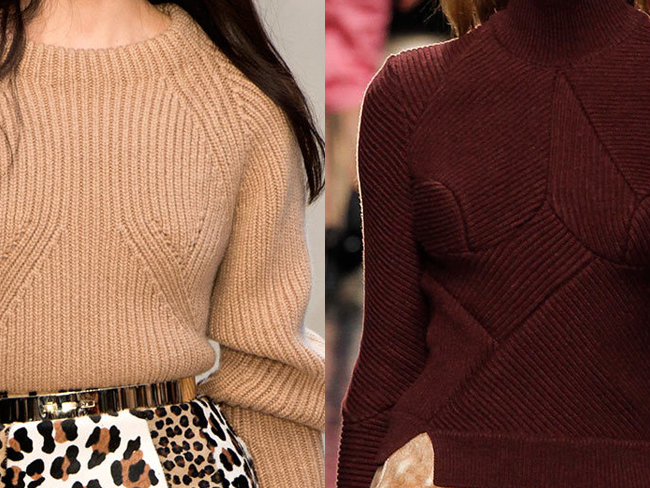sculpted sweaters at Burberry and Carven ... and other great knits of Fall 2013