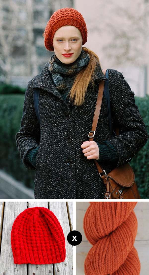how to knit Ilva Heitmann's rust-colored waffle beanie