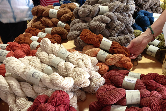 Pioneer yarn skeins on display at A Verb for Keeping Warm