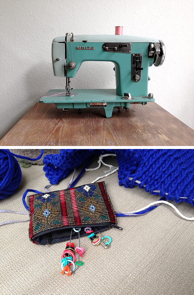 Leigh Wells sewing machine and stitch marker pouch