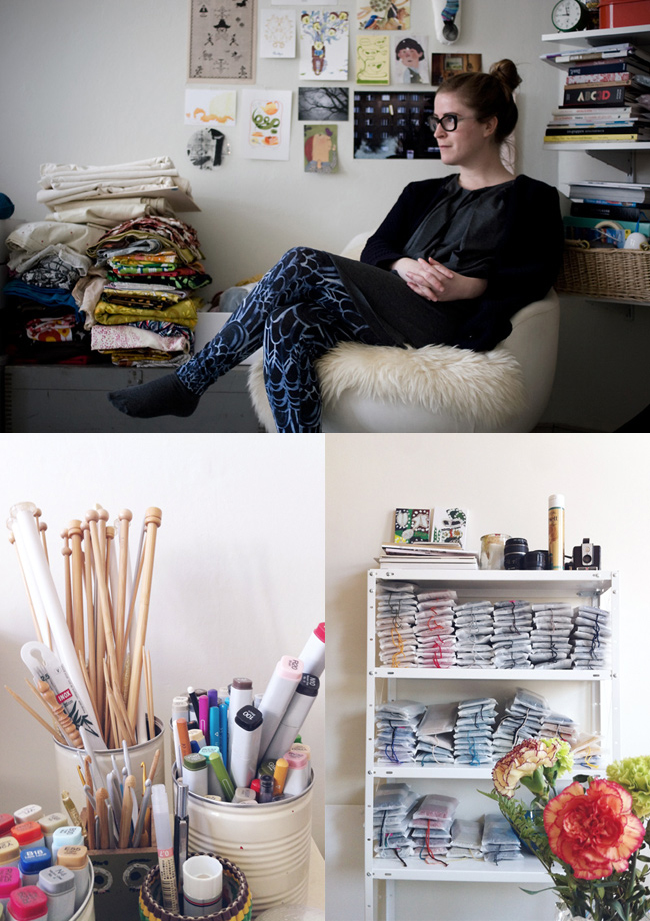 Sandra Juto in her illustration and crochet studio