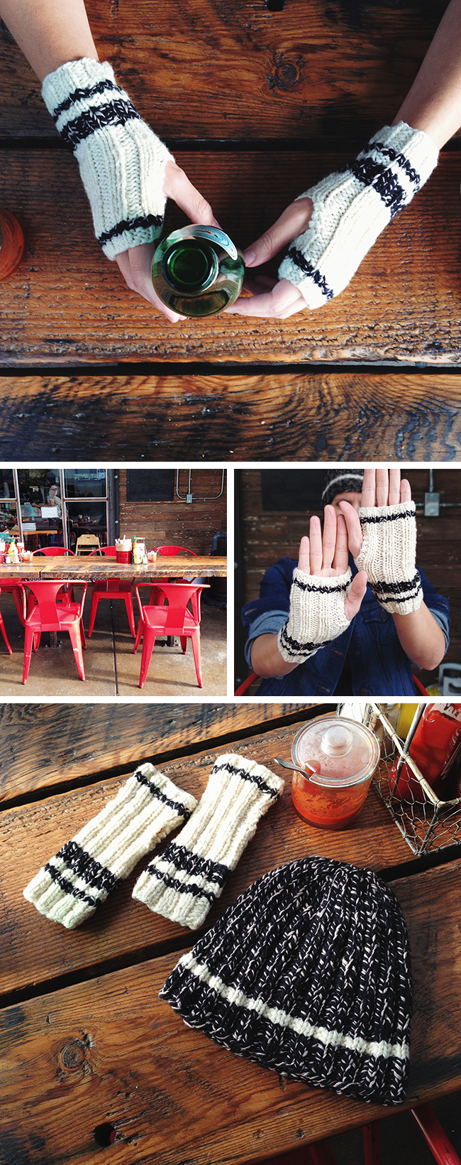 Stadium Mitts free knitting pattern at Fringe Association