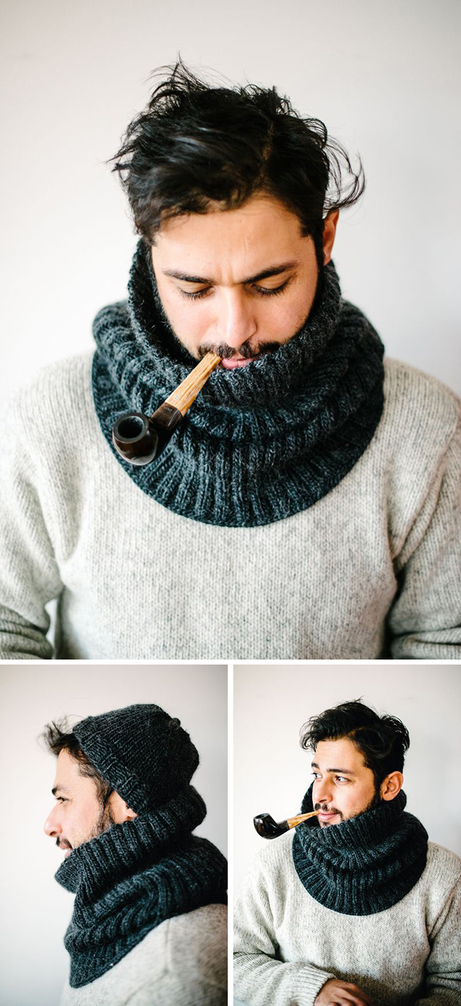 Hand knit cowl and hat, man style