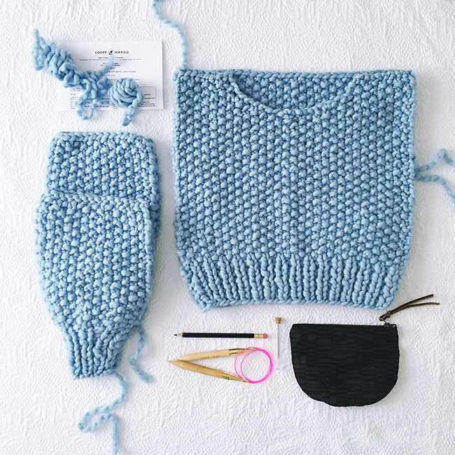 FO: Blue loopy pullover