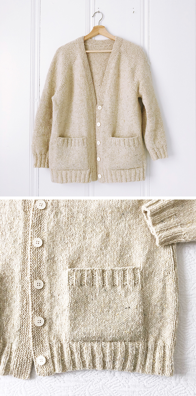 Finished: Ivory cardigan (free pattern)