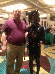 Gene and his new ponygirl at Fet Con 2013. Gene is sometimes a pony, too. Photo by author.