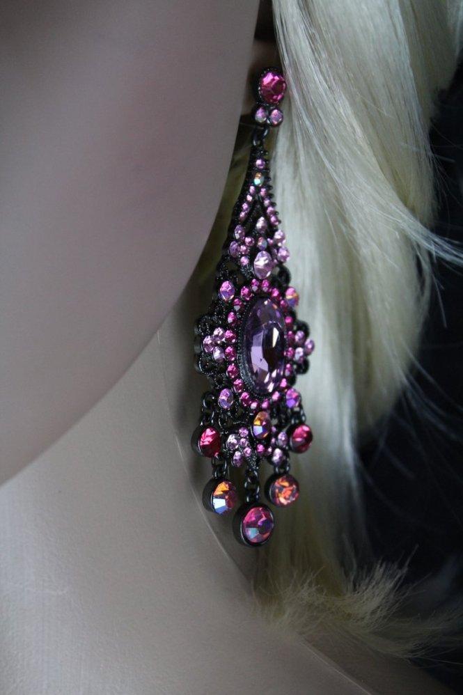 Black Filigree Victorian Ornate Pink Crystals Chandelier Dangle Post Earrings 3 5 Length