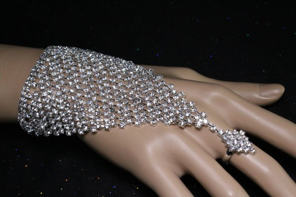 Diamond Bracelet With Ring Attached