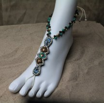 Boho Barefoot Sandals Gold Multi Color Turquoise
