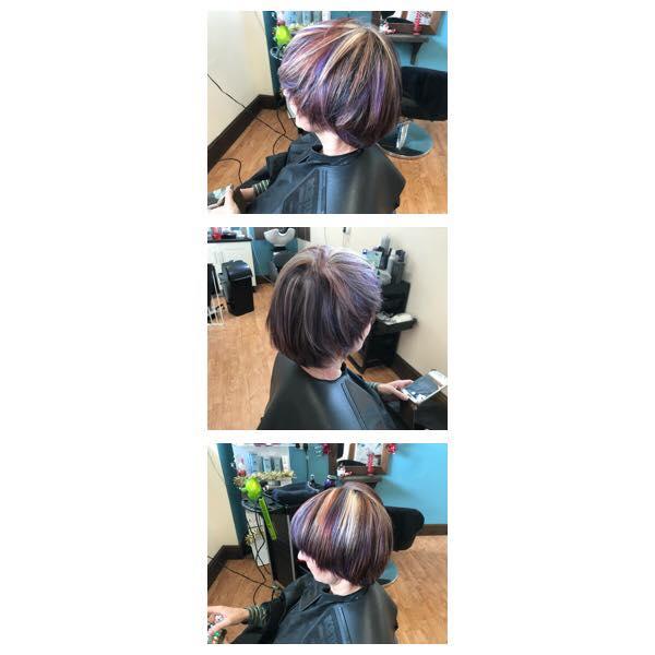 Purple Hair Cut & Colour by Fringe Hair Salon Newquay