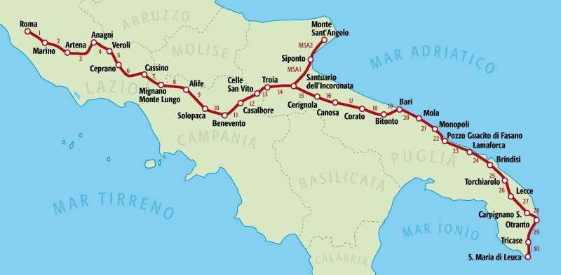 mappa via francigena del sud