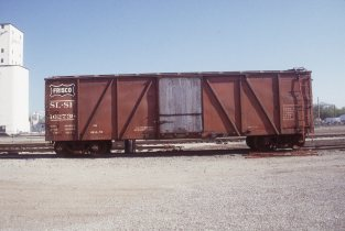 Outside Braced Boxcar 162736 at Enid, Oklahoma on April 6, 1998 (R.R. Taylor)