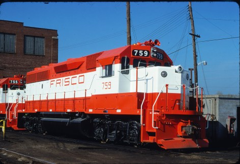 GP40-2s 759 and 755 at St. Louis, Missouri on May 8, 1979 (James Claflin, Dept 700, EMD Division, La Grange, Illinois)