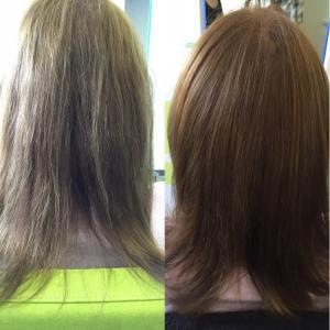 Vorher-Nachher Bild: Es wurde hier nur mit OLAPLEX® gearbeitet! Keine Farbe! Die rauhe Schuppenschicht hat jeglichen Glanz im Haar zunichte gemacht.