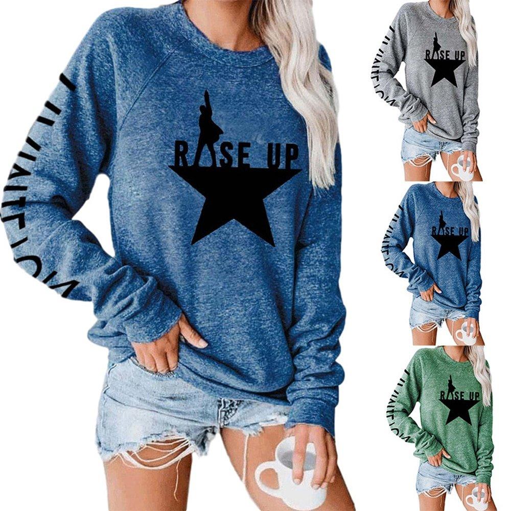 Stars Print Sweatshirts Women Long Sleeve Top Autumn New O-neck Sweatshirt Casual Female Loose Hoodies Datura Letter Pullover